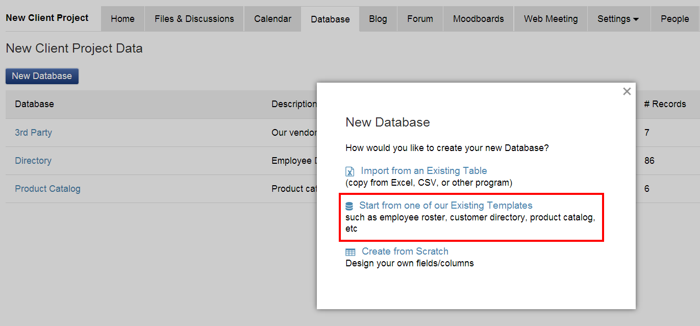 Creating databases from existing templates – iMeet Central Help Center
