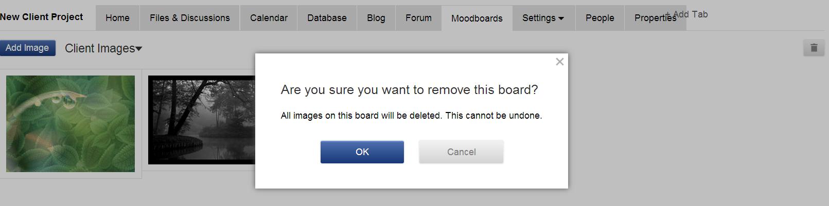 Deleting moodboard