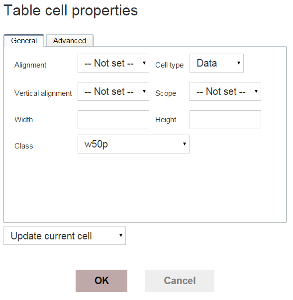 Table Cell Class