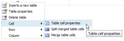 Table Cell Properties