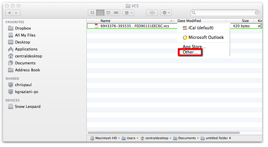 Making Outlook the default program for VCS files in Mac