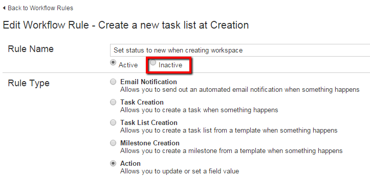 Deactivate Workflow Rules