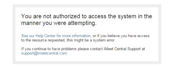 Not authorized error message